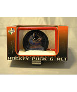 VANCOUVER CANUCKS NHL HOCKEY PUCK & GOAL /NET STAND OLD - $23.83