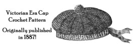 Victorian Cap Tunisian Crochet Pattern Boys Hat Tricot Reenactment Dickensian image 1