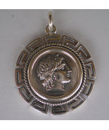 Apollo Silver Coin Pendant with Meander Design - Olympian God - Apulu - $49.99