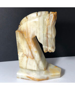 MARBLE HORSE BOOKEND chess knight statue sculpture figurine book end bei... - $39.55