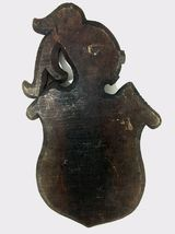 Antique 1900 German black forest carved wood shield medieval knight shop sign image 12