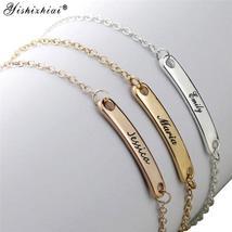Custom Name ID Bar Bracelet Gold Stainless Steel Initial Charm Bracelets... - $10.30+