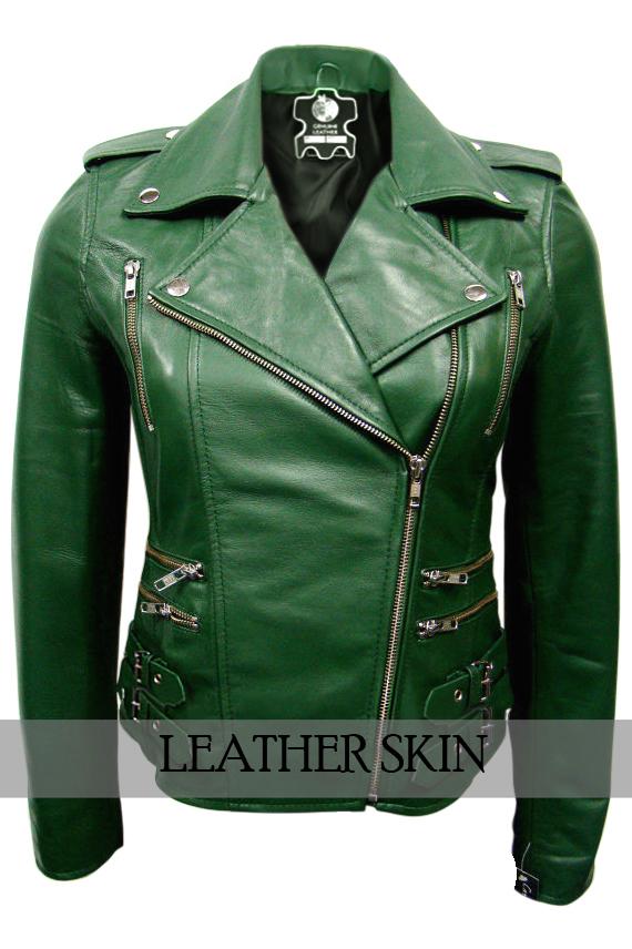 NWT Green Brando Women Ladies Sexy Stylish Premium Genuine Leather Jacket