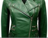Green women leather jacket l thumb155 crop