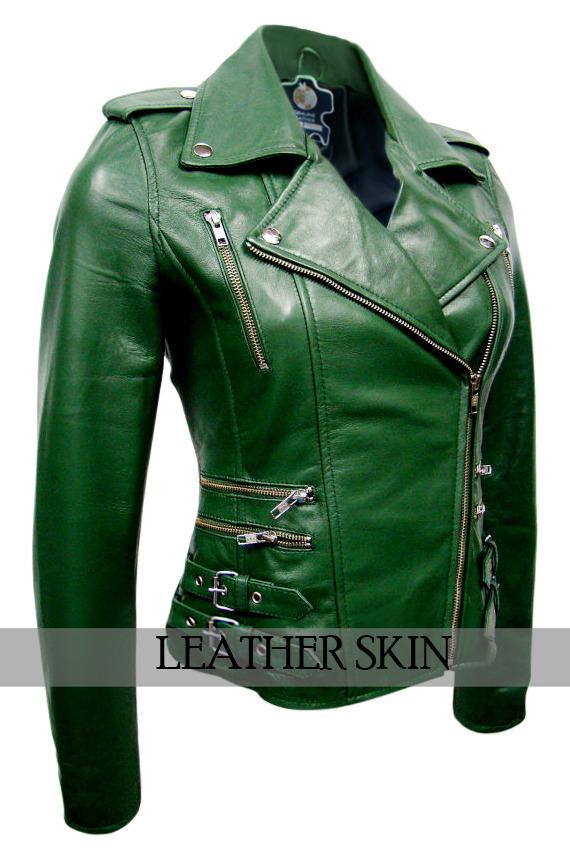 NWT Green Brando Women Ladies Sexy Stylish Premium Genuine Leather Jacket image 2