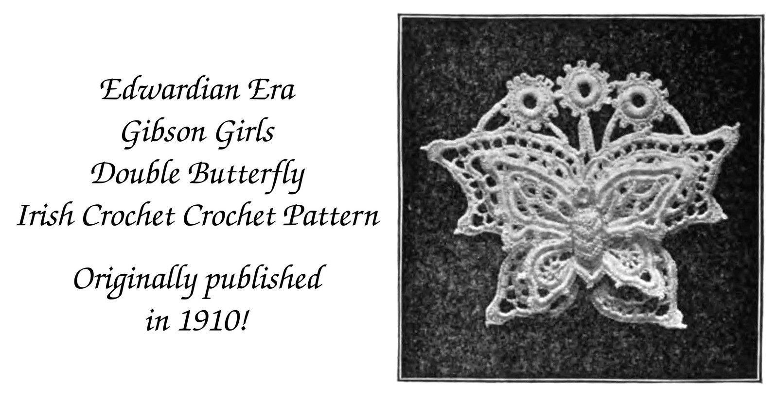 1910 Gibson Girl Vintage Irish Crochet Butterfly Motif Applique Pattern 1 DIY