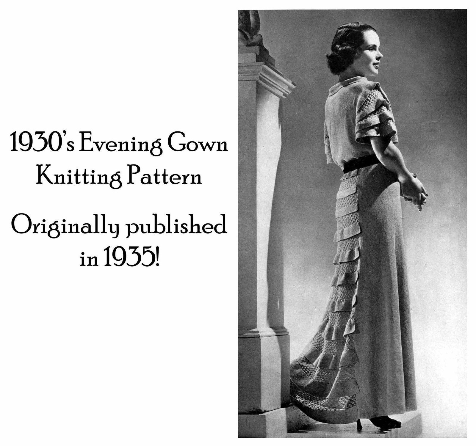 1930s Depression Knit Evening Gown 30s Dress Pattern Elegant Knit Knitted Glamor