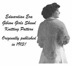 1913 Edwardian Gibson Girl Shawl Knit Pattern DIY Shoulder Wrap Knitting Knitted image 1