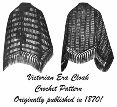 1870 Victorian Cloak Cape Crochet Pattern DIY Historical Reenactment Dic... - $5.99