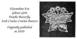 1910 Gibson Girl Vintage Irish Crochet Butterfly Motif Applique Pattern 1 DIY image 2