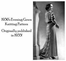 1930s Depression Knit Evening Gown 30s Dress Pattern Elegant Knit Knitted Glamor image 2