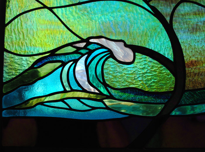 """Stained Glass Window XL 28"""" round panel Wave Tree Moonlight"""
