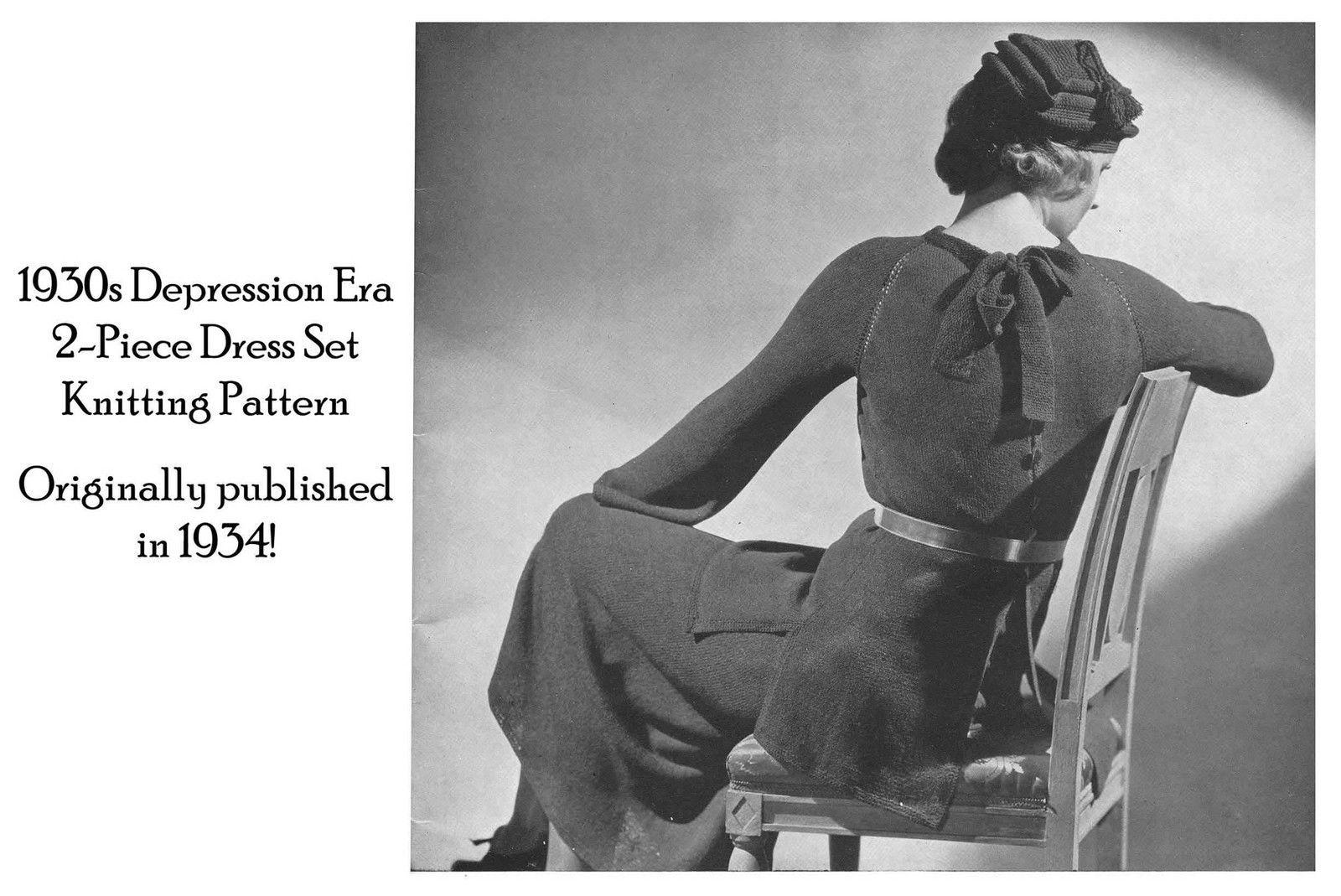 1930s Depression Knit Skirt Tunic Dress Pattern Elegant Knit Knitted Lacy Glamor