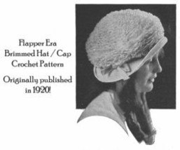 1920 Flapper Era Brimmed Hat Crochet Pattern Titanic Era Fashion Reenactment 1 image 2