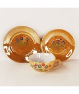 Vintage Peach Lusterware Mini Cup Saucer Plate Hand Painted Floral Design  - $9.99