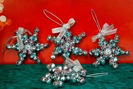 "Star Shaped 4"" Silver Blue Pink Metal Jingle Bell Ornament Set 4 Christmas  - $13.52"