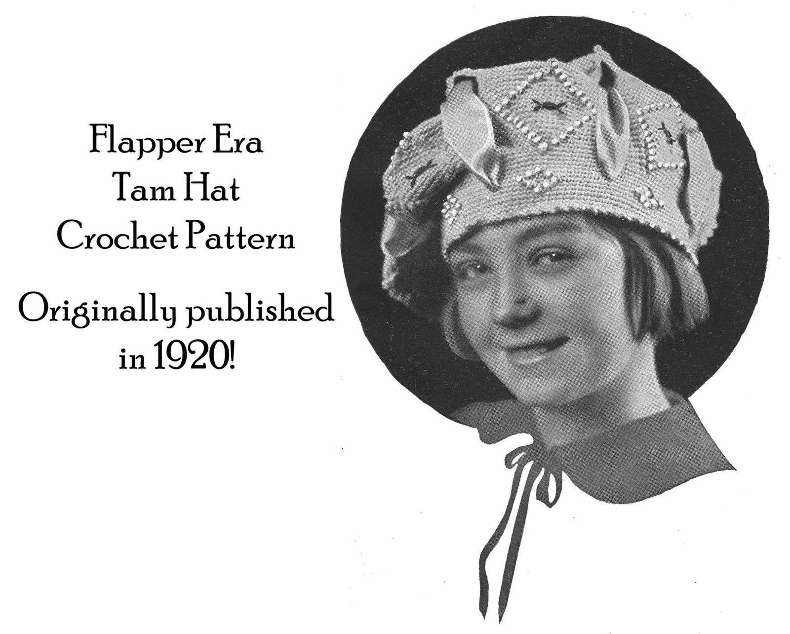 1920 Flapper Tam Hat Crochet Pattern Prohibition Fashion DIY Roaring 20s DIY 1