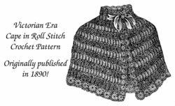 1890 Victorian Shoulder Cape Crochet Pattern DIY Historical Village Roll Stitch
