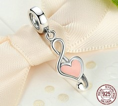 925 Sterling Silver I Love Music Notes Charm Beads Fit Pandora Bracelet - $11.99