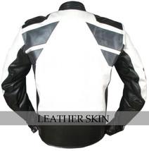 NWT White & Black Motorcycle Biker Racing Stylish Premium Genuine Leather Jacket image 3