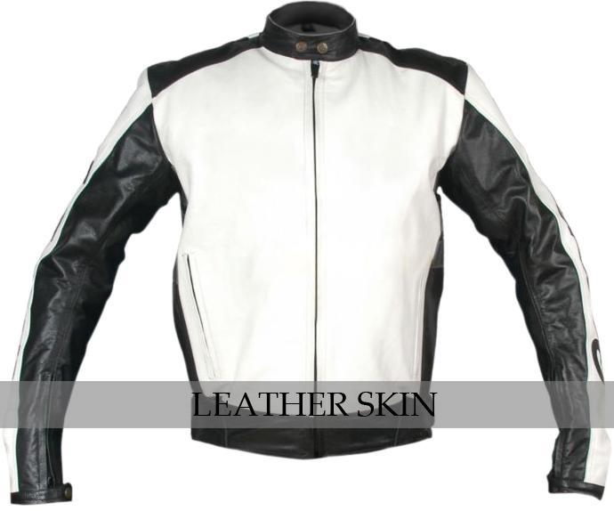 NWT White & Black Motorcycle Biker Racing Stylish Premium Genuine Leather Jacket