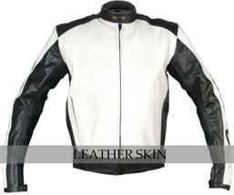 NWT White & Black Motorcycle Biker Racing Stylish Premium Genuine Leather Jacket image 1