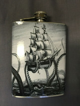 Octopus Kraken Attack Flask 8oz Stainless Steel Drinking Whiskey Clearan... - $7.92