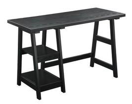 Convenience Concepts Designs2Go Trestle Desk, Black Dorm Bedroom Office ... - $134.99