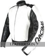 NWT White & Black Motorcycle Biker Racing Stylish Premium Genuine Leather Jacket image 2