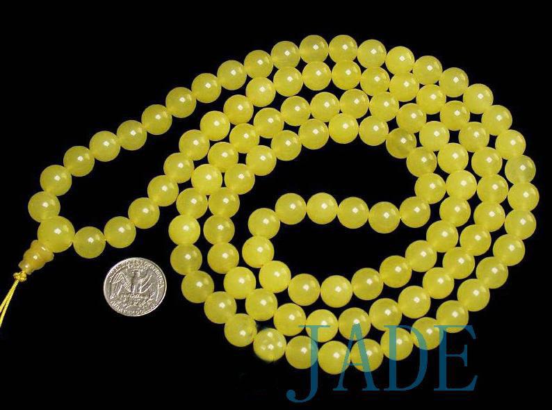 Tibetan Translucent Yellow Jade Prayer Beads Mala
