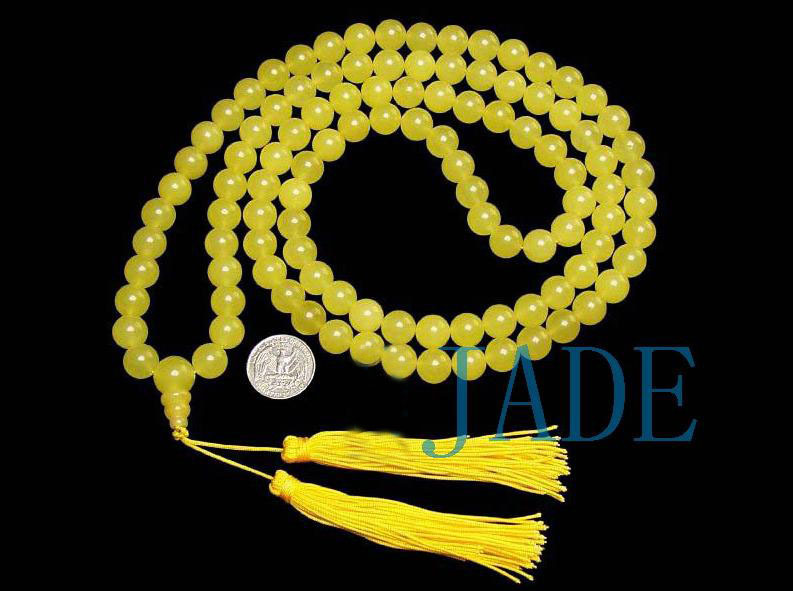 Tibetan Translucent Yellow Jade Prayer Beads Mala image 2