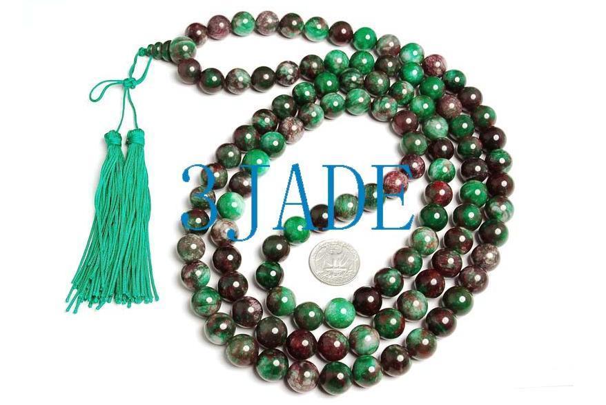 "57"" Tibetan 108 Jade/Serpentine Prayer Beads Mala image 3"