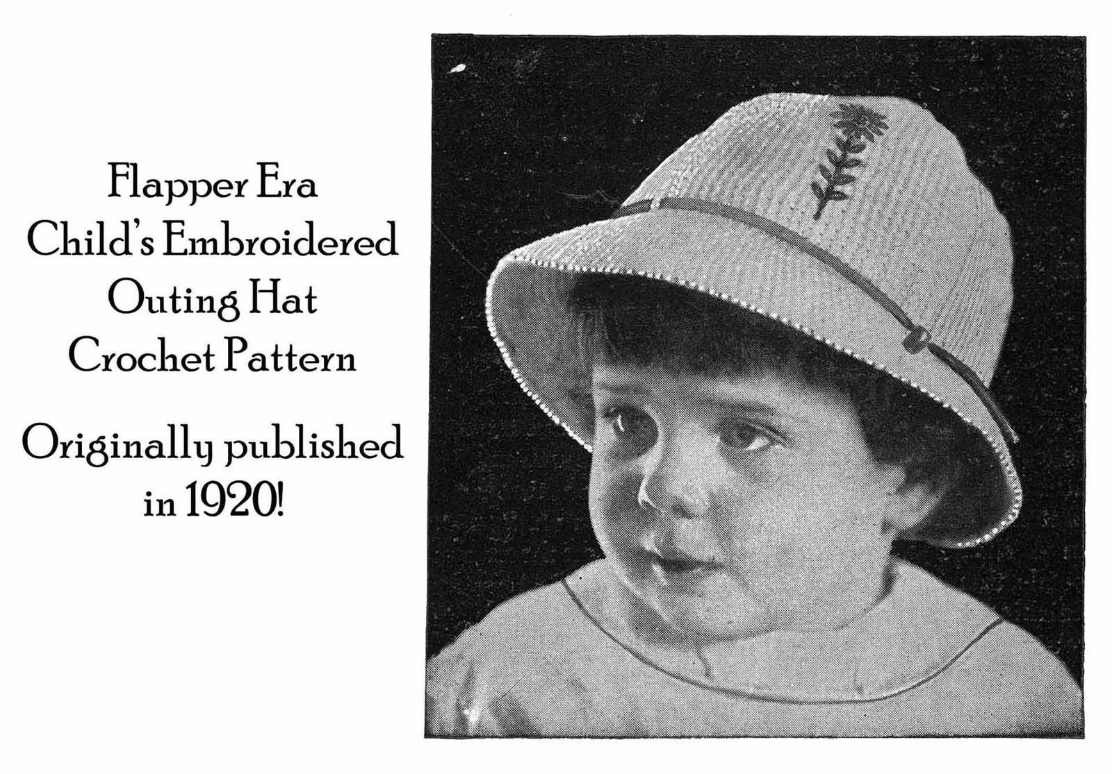 1920 Flapper Childs Brimmed Hat Crochet Pattern Titanic Era Fashion Reenactment