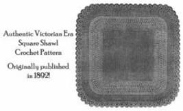 Shawl Crochet Pattern Victorian DIY Crocheted 1892  Evening Wrap Seaside Fancy image 2