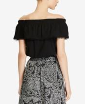 LAUREN RALPH LAUREN Black 100% Cotton Ruffled Pom Pom Off Shoulder Top NWT P/S image 2