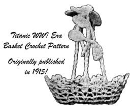 1915 Nut Basket Crochet Pattern Titanic Candy Basket Wedding Shower Easter 1 image 1