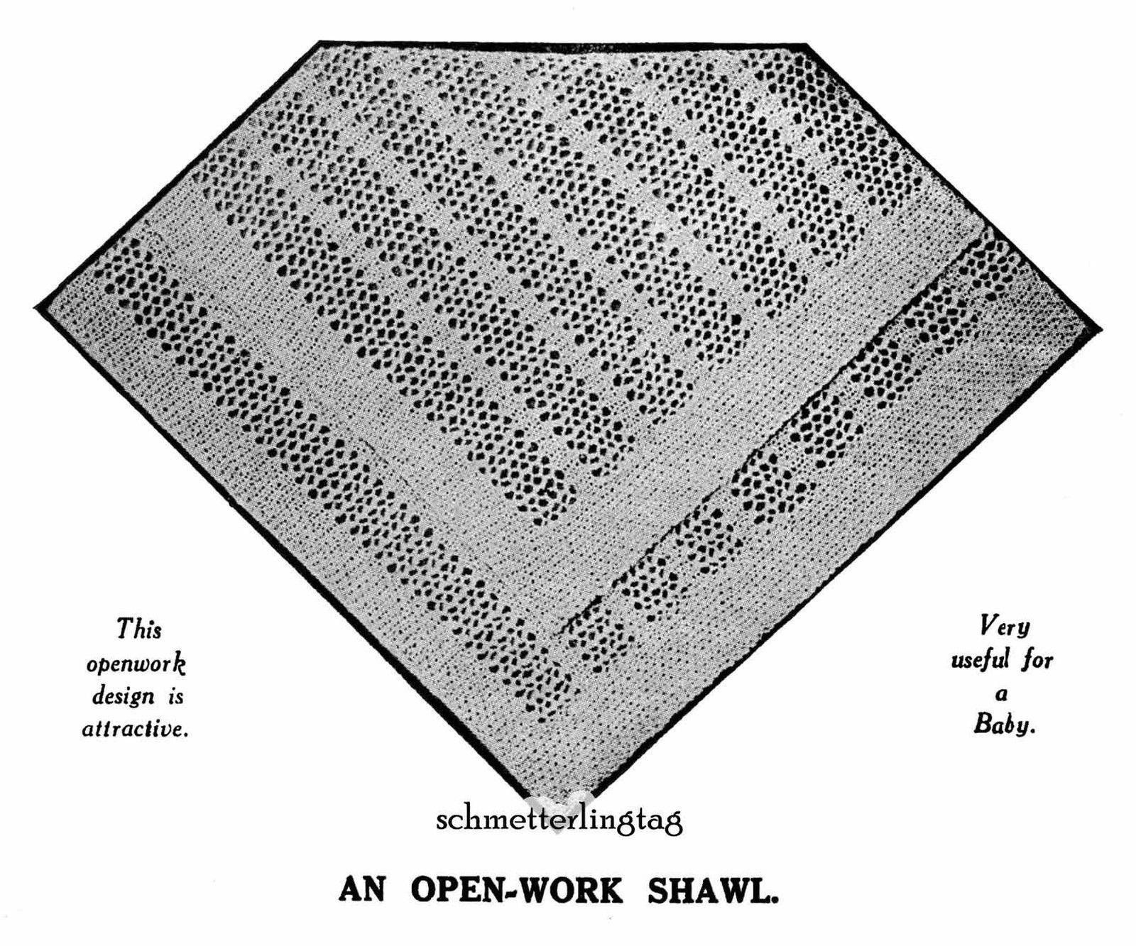1924 Flapper Baby Infant Square Shawl Knit Pattern Baptismal Shower Gift DIY