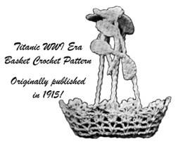 1915 Nut Basket Crochet Pattern Titanic Candy Basket Wedding Shower Easter 1 image 2