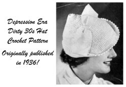 1936 Brimmed Hat Crochet Pattern Depression Ladys Bow Bogart Milliner Dirty 30s
