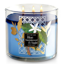 Bath & Body Works Blue Sandalwood & Sage Three Wick 14.5 Ounces Scented ... - $22.49