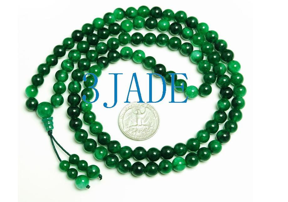 "32"" Green Jade/Jadeite 108 Meditation Prayer Beads Mala"