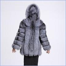 Full Pelt Luxury Hooded Silver Blue Long Sleeve Mink Faux Fur Overcoat Parka image 2