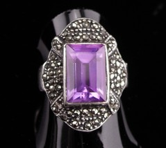 Vintage Amethyst Ring / sterling ring for her / Marcasite design / Art D... - $125.00