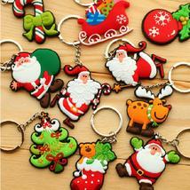 New Hot Selling Silicone Santa Claus/Tree/Socks/Snowman Keychains Keyrin... - $0.63