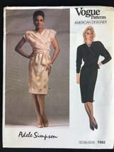 Vintage 1980s Vogue Paris Original Adele Simpson Pattern Faux Wrap Dress... - $13.98