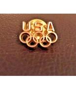 Official USA Gold Tone 5 Ring Winter Summer Olympics Logo Lapel Pin Hat Pin - $3.95