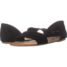 Steve Madden Corey Slip On Flat Sandals 271, Black Suede, 6 US - $31.67