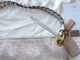 Coach Poppy Metallic Leather Whipstitch Hippie Convertible Bag 19014 Platinum image 6