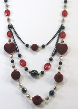 """Beautiful black red silver heart shape beads 3 swing layers long necklace 14-17"""" image 3"""