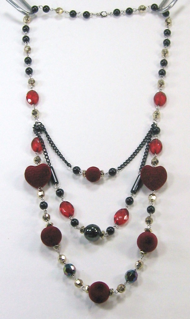 Beautiful black red silver heart shape beads 3 swing layers long necklace 14-17